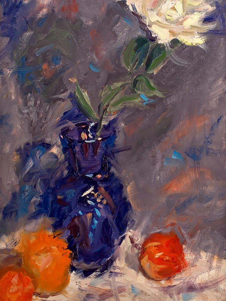 """Blue Vase with Fruit and Rose"" original fine art by Daniel Fishback"