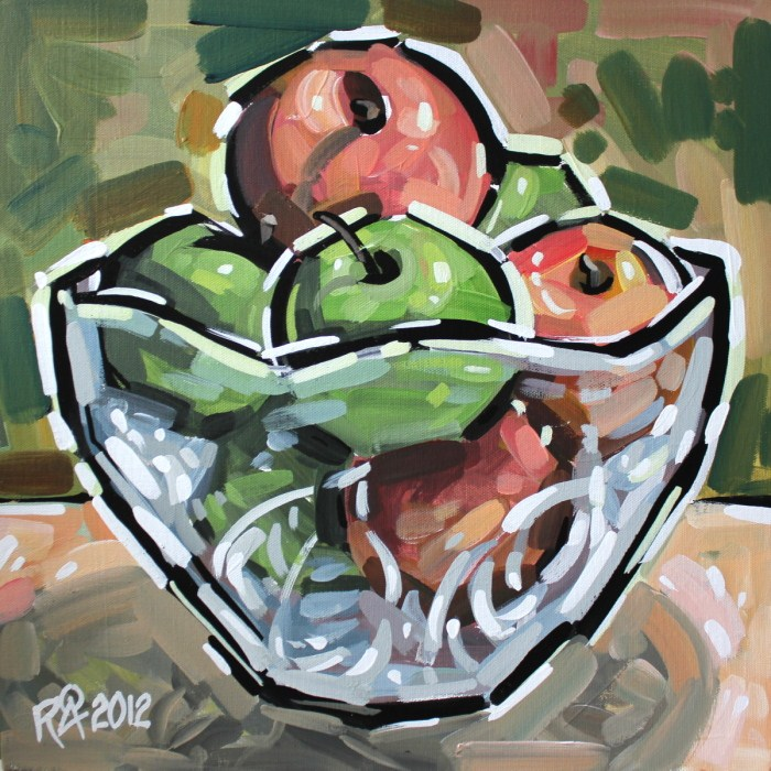 """Bowl with fruit 5"" original fine art by Roger Akesson"