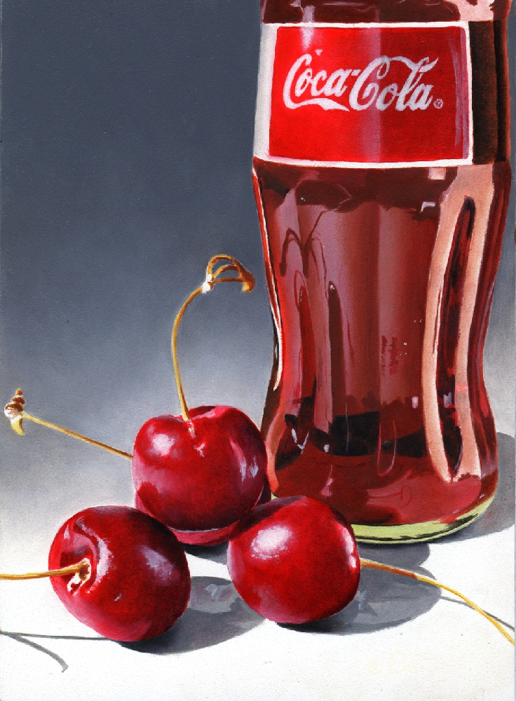 """Cherry Coke"" original fine art by Jacqueline Gnott, whs"