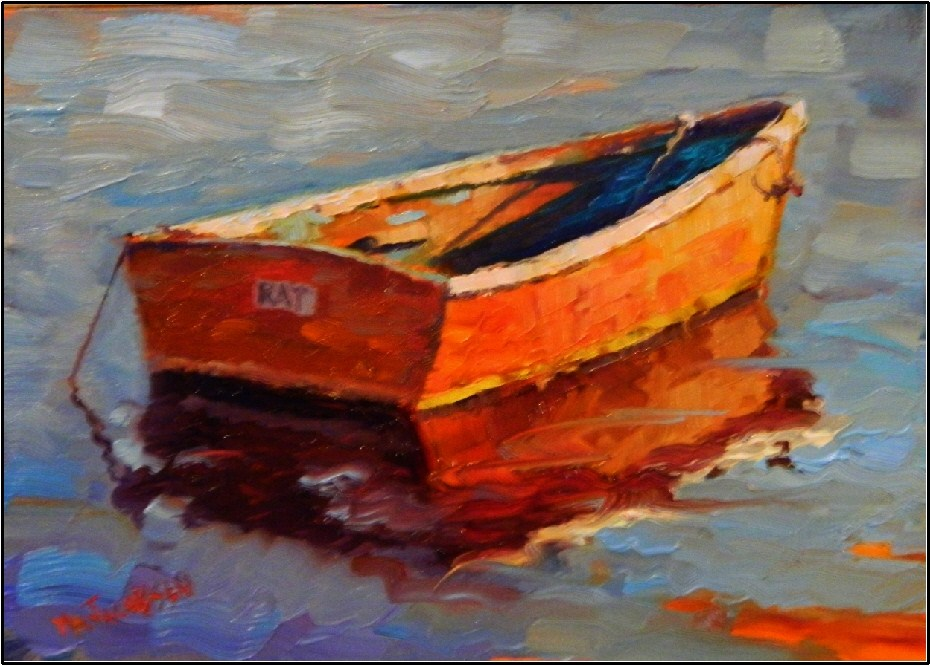 """The Rat Boat, paintings of old boas, small boats, wooden boats, rat boats, Rockport, Rockport harbor"" original fine art by Maryanne Jacobsen"