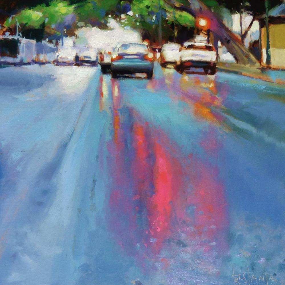"""Red lights reflects"" original fine art by Víctor Tristante"