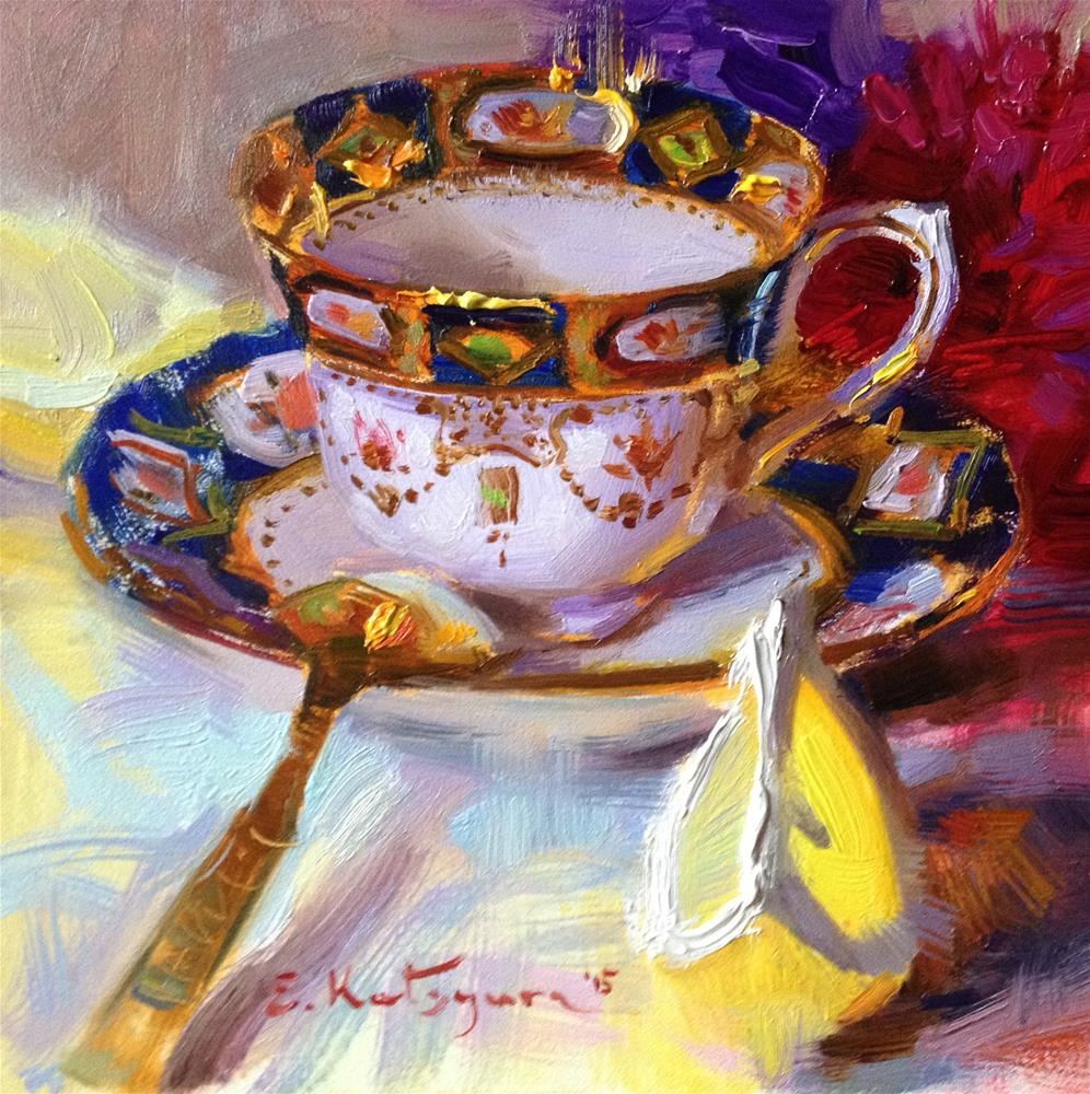 """Teacup, Lemon and Asters"" original fine art by Elena Katsyura"
