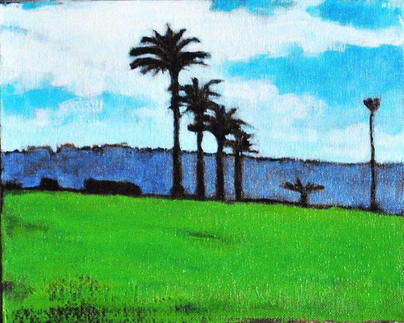 """Palms on Shelter Island, San Diego"" original fine art by Kevin Inman"