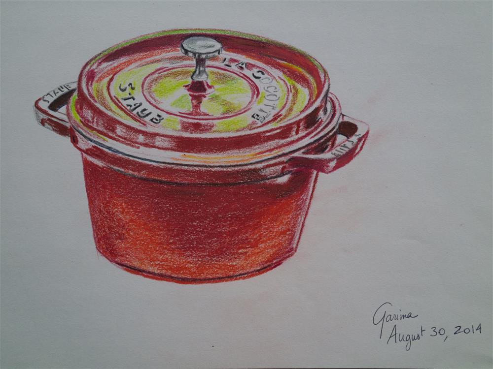 """""""Red Crockpot"""" original fine art by Garima Heath"""