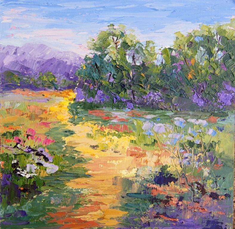 """""""Meandering Path, Impressionist Provence Landscape"""" original fine art by Marion Hedger"""