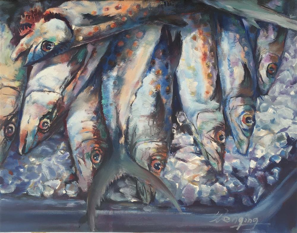 """fish on market"" original fine art by Wenqing Xu"