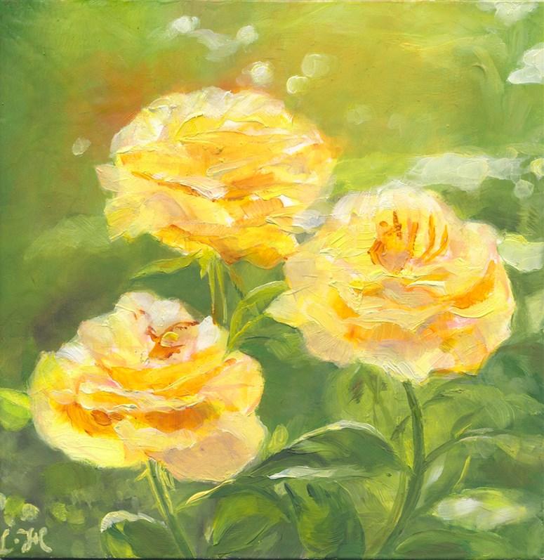 """Yellow roses"" original fine art by Hui (Hue) Li"