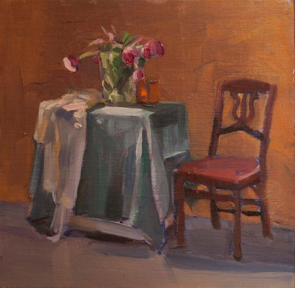 """Tulips and a Chair"" original fine art by Deborah Savo"