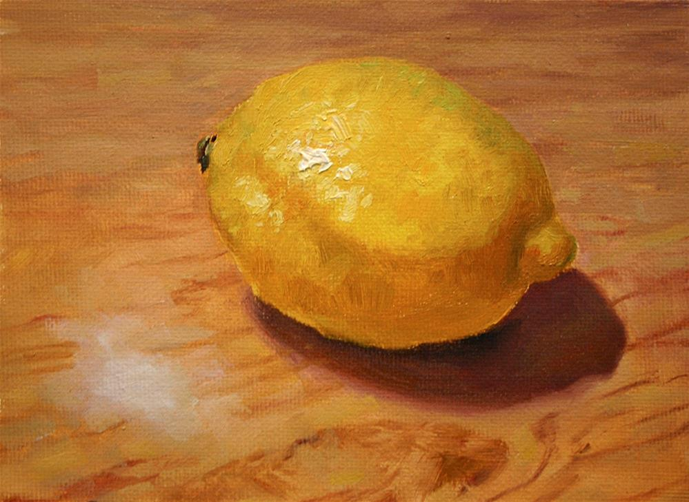 """Lemon on table"" original fine art by K.R. McCain"