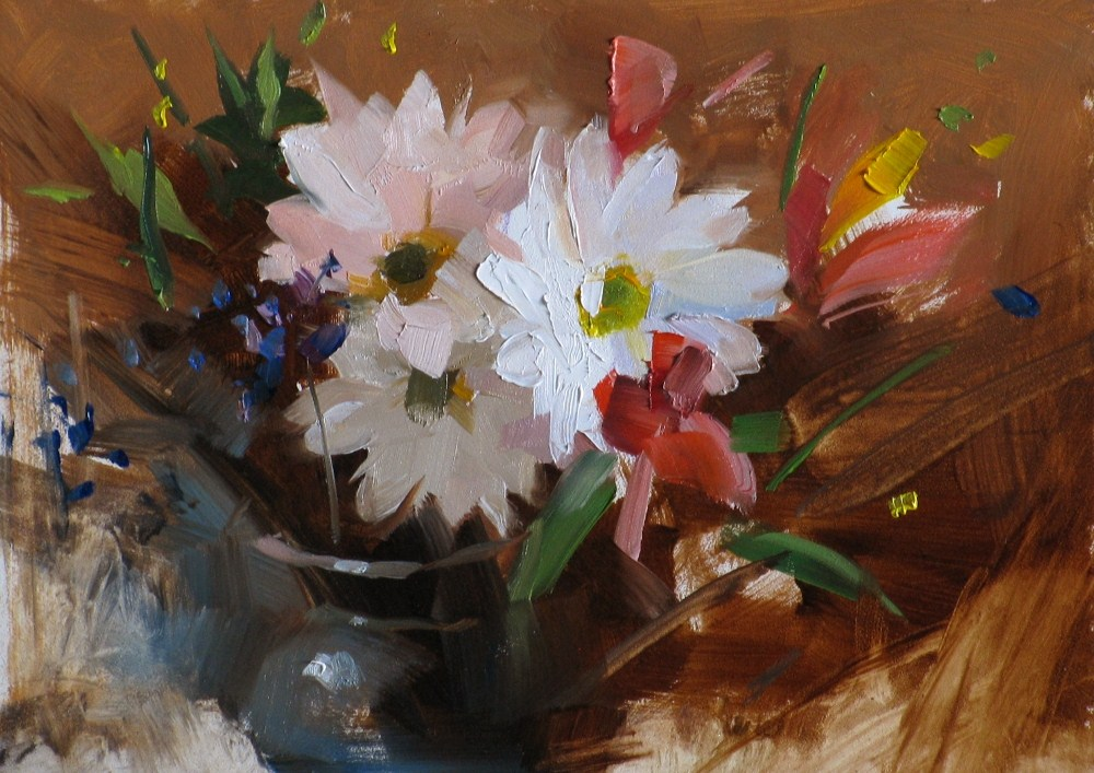 """Daisies at Carmel"" original fine art by Qiang Huang"