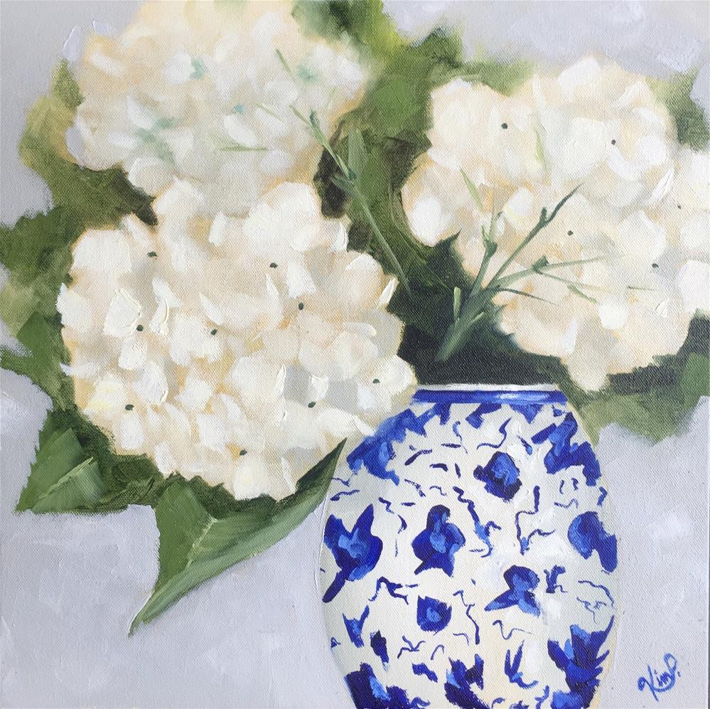 """White Hydrangeas in Chinoiserie Blue and White Vase"" original fine art by Kim Peterson"