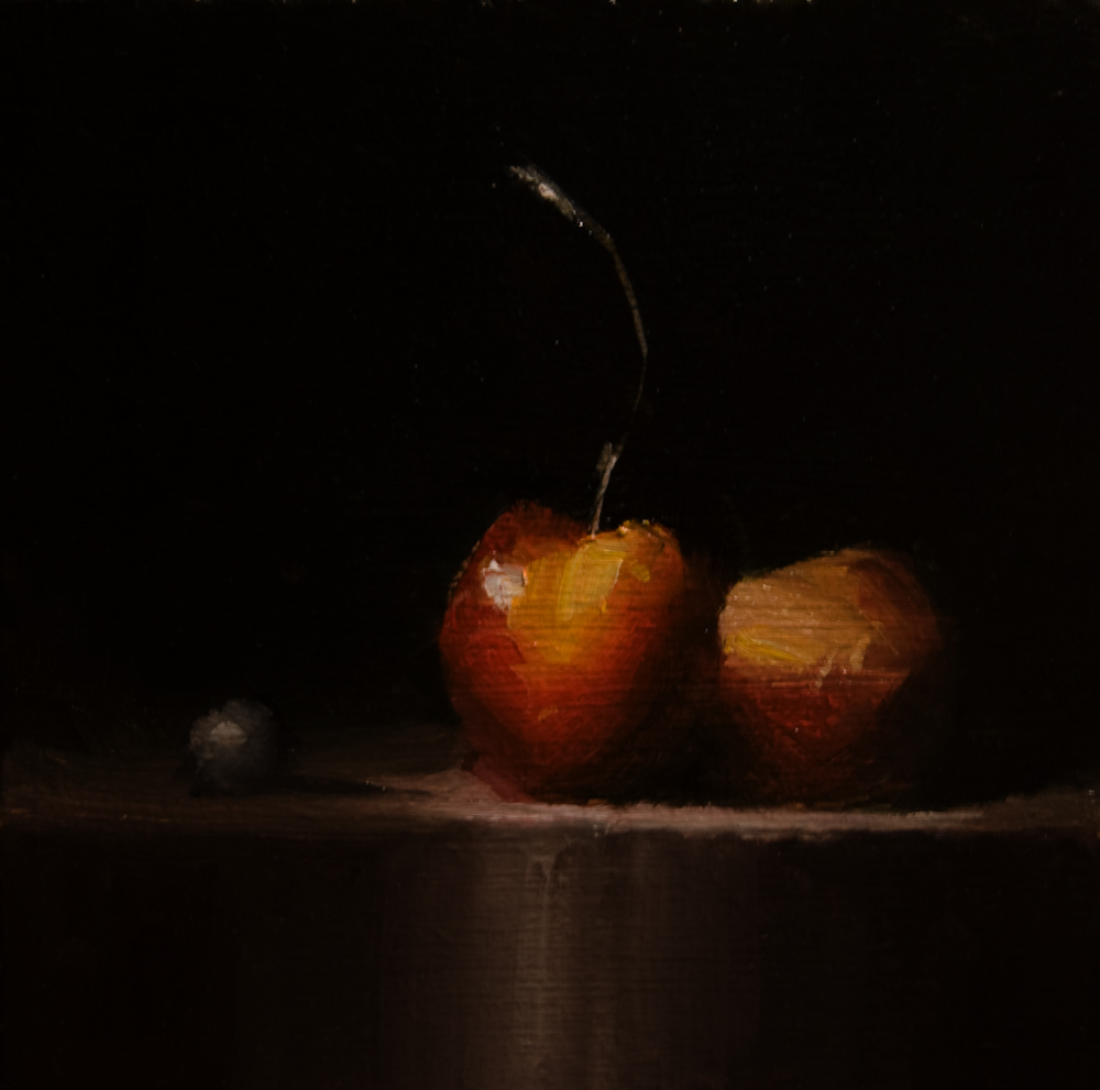 """Two Cherries"" original fine art by Neil Carroll"