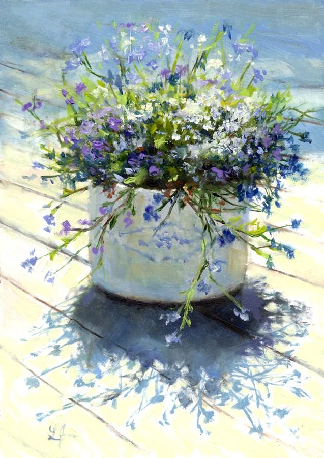 Mixed Lobelia original fine art by Linda Jacobus