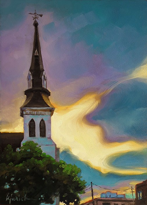 """Emanuel A.M.E. at Dawn"" original fine art by Karin Jurick"