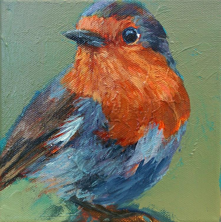 """Watchful Robin"" original fine art by Jennifer Harwood"