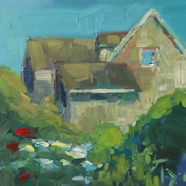 """Pacific Northwest Coastal Cottage"" original fine art by Patti McNutt"