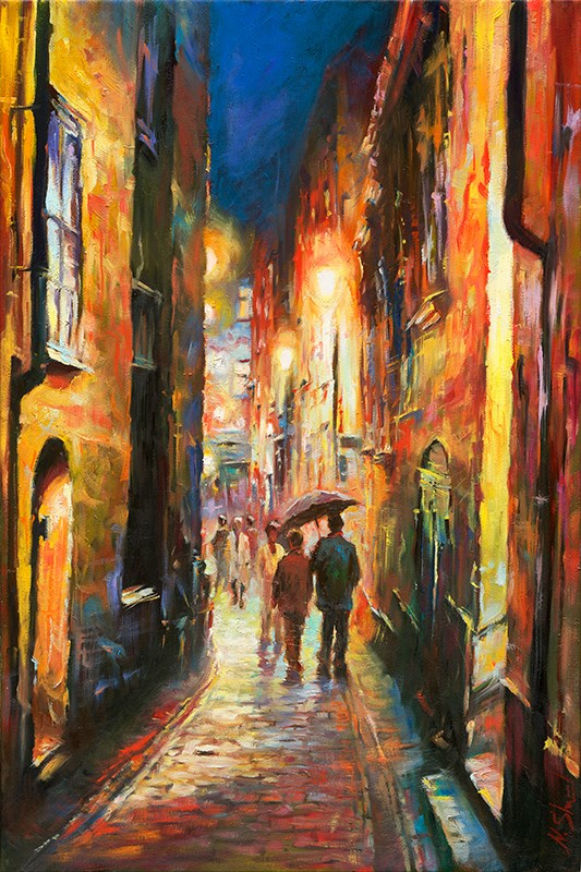 """Raining - Stockholm Gamla stan, Oil painting"" original fine art by Nick Sarazan"