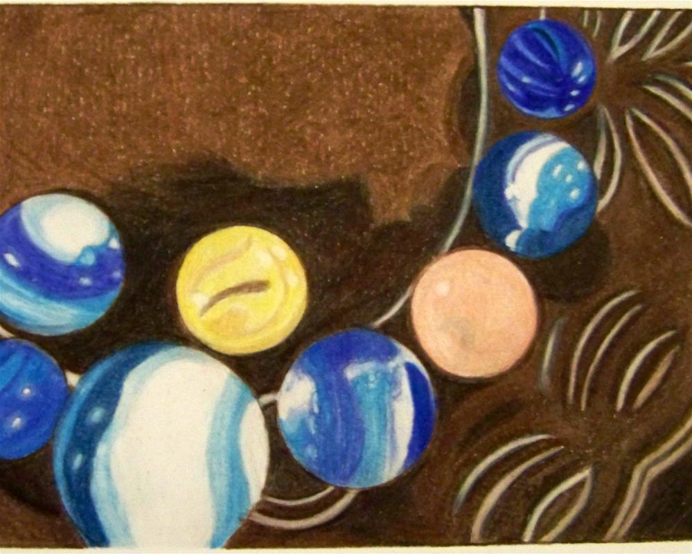 """Marbles on Glass Plate"" original fine art by Elaine Shortall"
