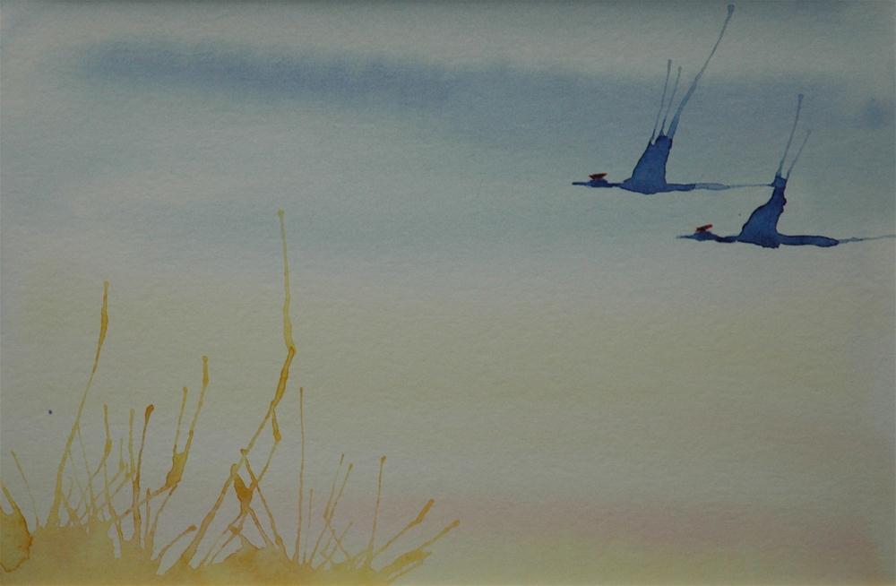 """Kranichpaar (Pair of cranes)"" original fine art by Ulrike Schmidt"