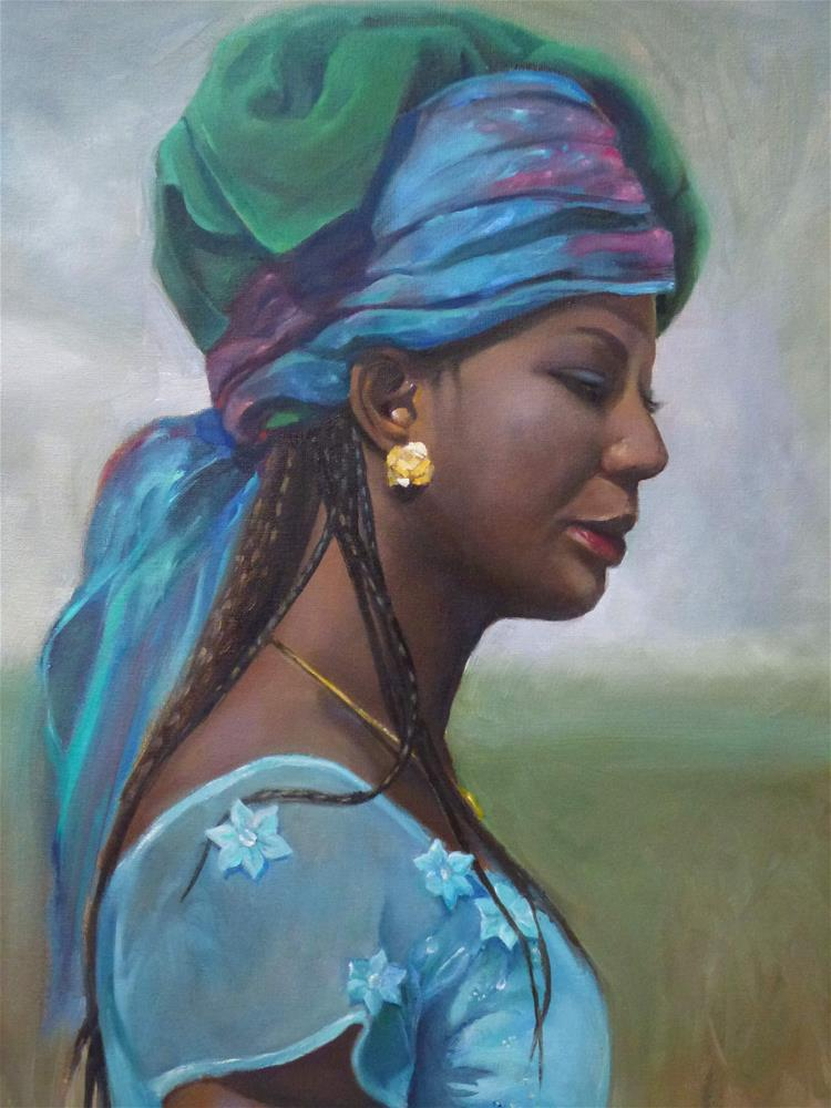 """Girl with a Gold Earring (Bridal Attendant)"" original fine art by Christine Angelotta Dixon"