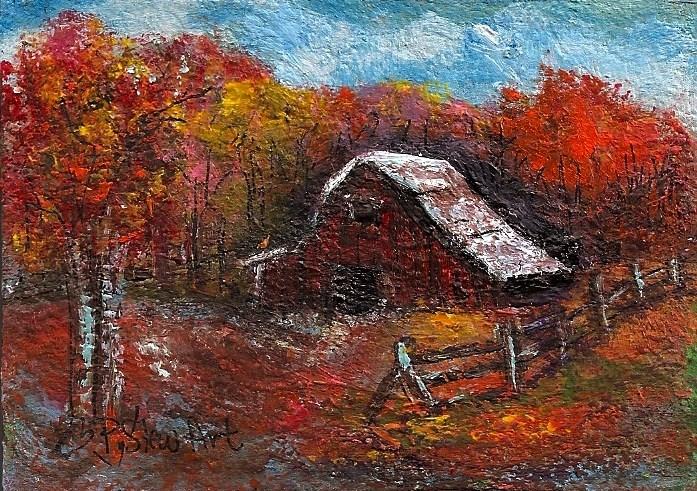 """ACEO Red Barn Autumn Trees Fall Foliage Farm Landscape SFA Penny StewArt"" original fine art by Penny Lee StewArt"