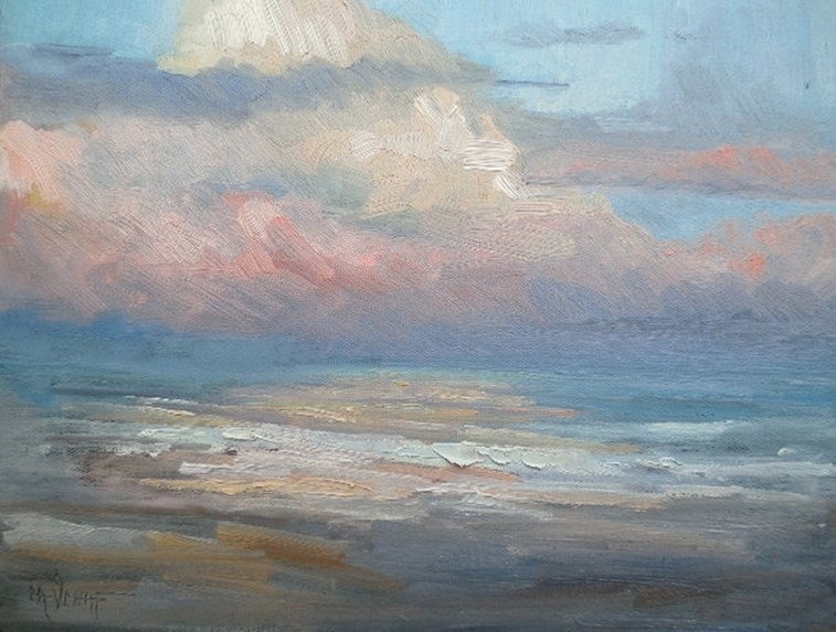 """Seascape Painting, Daily Painting, Small Oil Painting, Pink Clouds , 11x14x1.5 Oil"" original fine art by Carol Schiff"