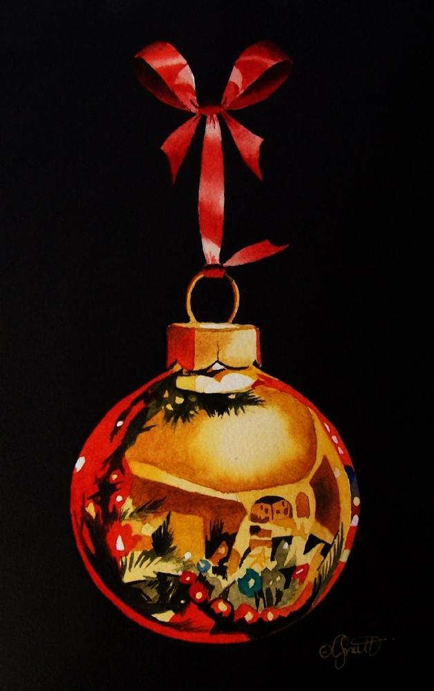 """Gold Christmas Ornament"" original fine art by Jacqueline Gnott, whs"