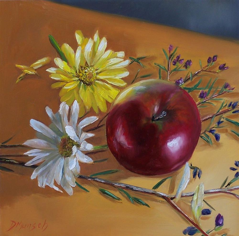 """Red Apple and Daisies"" original fine art by Donna Munsch"