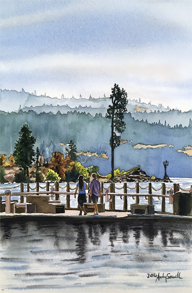 """Coeur d' Alene Boardwalk"" original fine art by Andy Sewell"