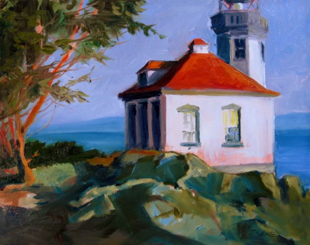 """The Lime Kiln Lighthouse and plein air painting in the San Juan Islands"" original fine art by Robin Weiss"