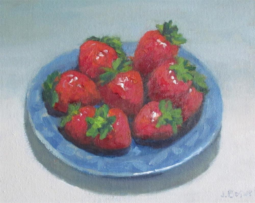 """Strawberries on Blue and White Plate"" original fine art by Jennifer Boswell"