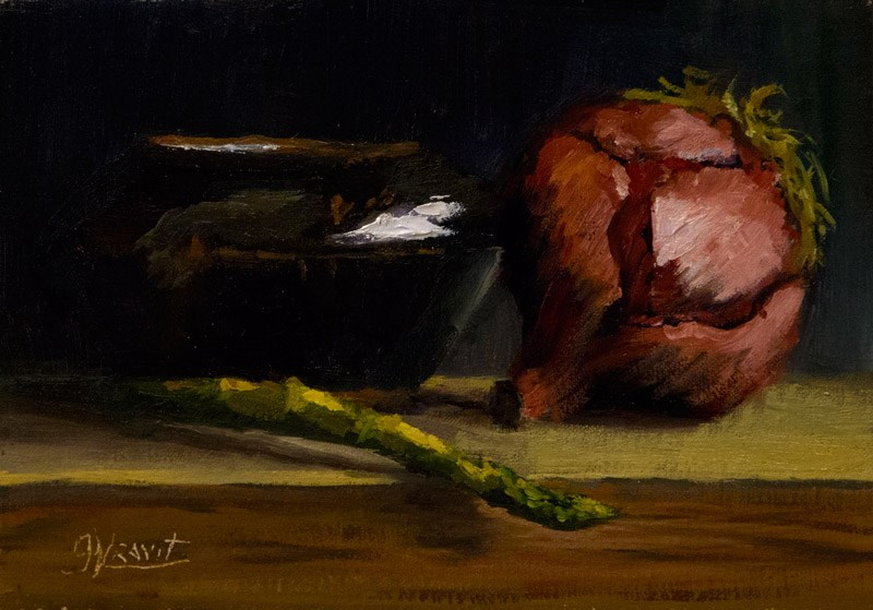 """Asparagus, Onion, and Bowl"" original fine art by Garry Kravit"