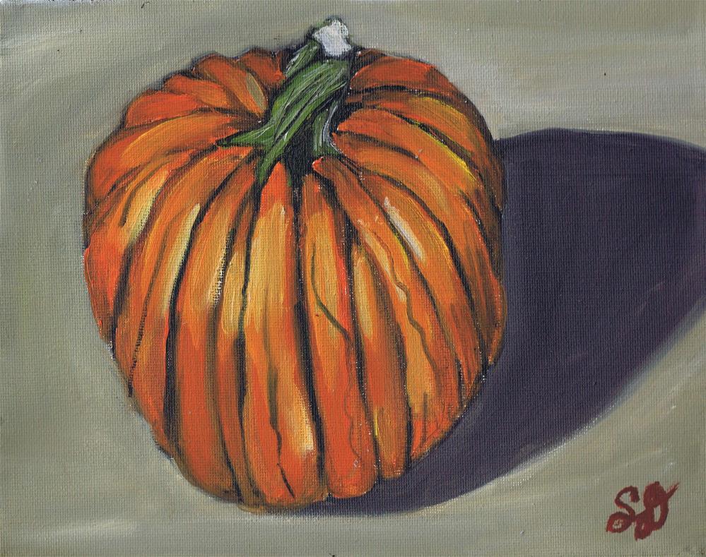 """""""Bright Orange Pumpkin"""" original fine art by Samara Doumnande"""