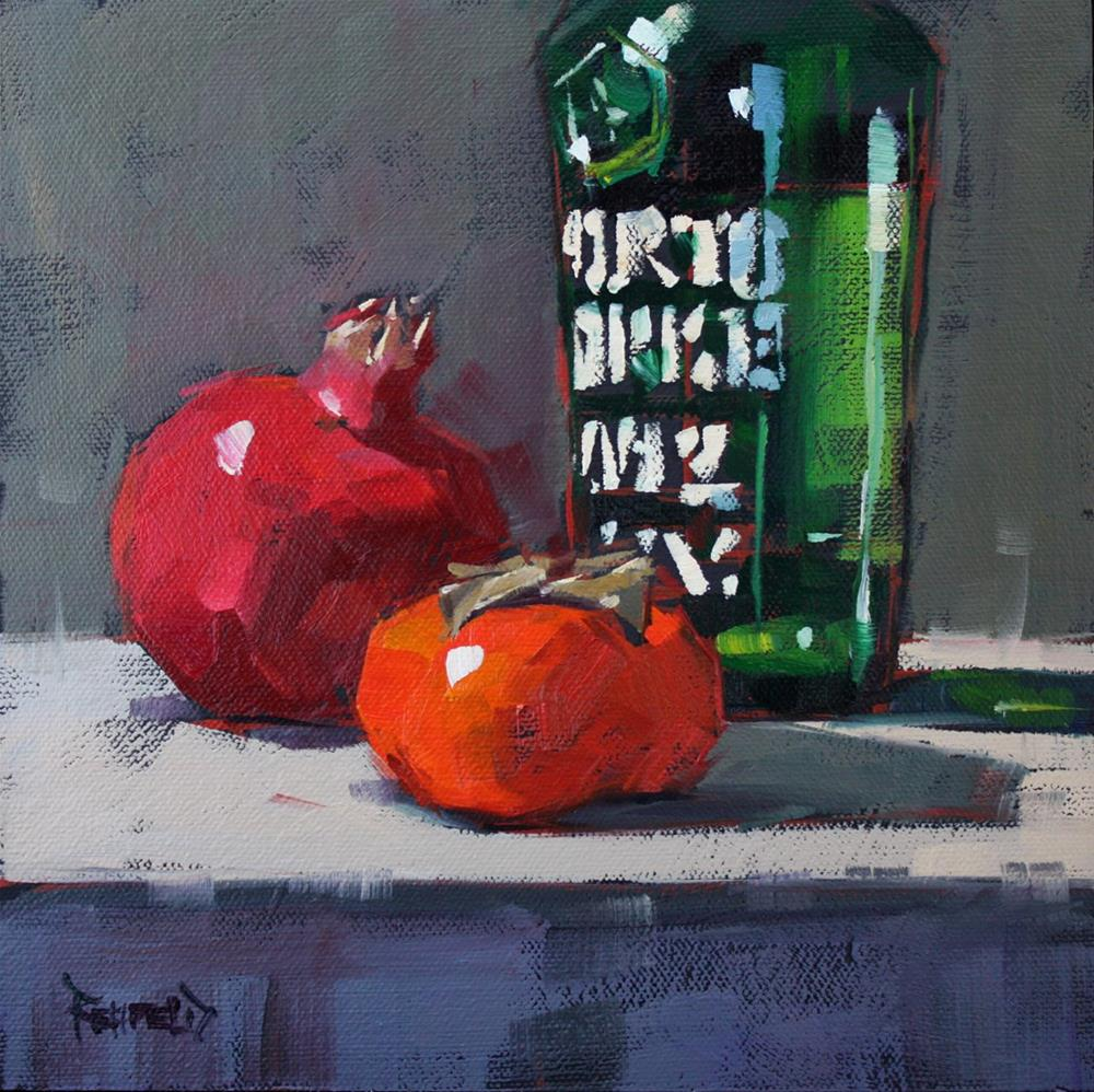 """Port, Pom, Persimmon"" original fine art by Cathleen Rehfeld"