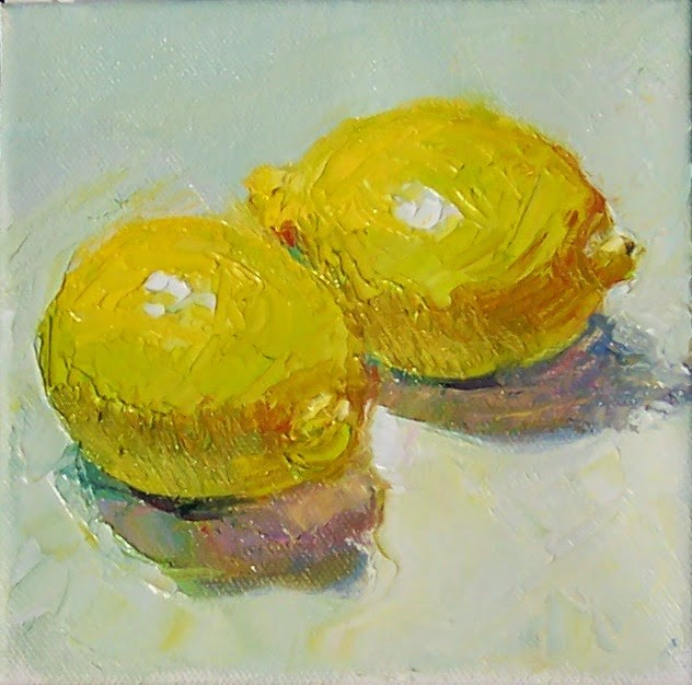 """December Lemons,still life, oil on canvas,6x6,price $200"" original fine art by Joy Olney"