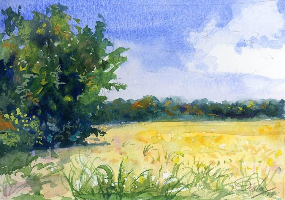 """""""La Vergne Soybean Field"""" original fine art by Chris Ousley"""