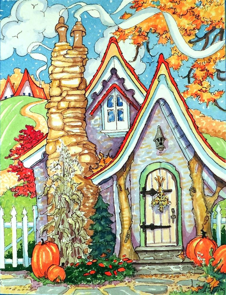 """""""Shades of a Carmel Autumn Storybook Cottage Series"""" original fine art by Alida Akers"""