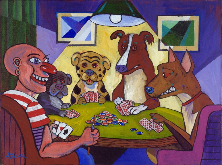 """Pablo playing poker with dogs"" original fine art by George Kocar"