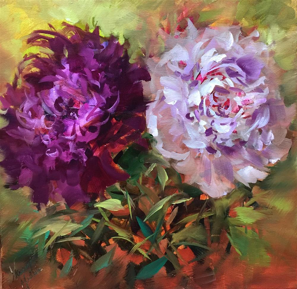 """Heart Whispers Peonies"" original fine art by Nancy Medina"