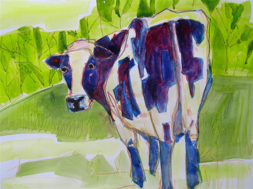 """Moo"" original fine art by Patricia MacDonald"