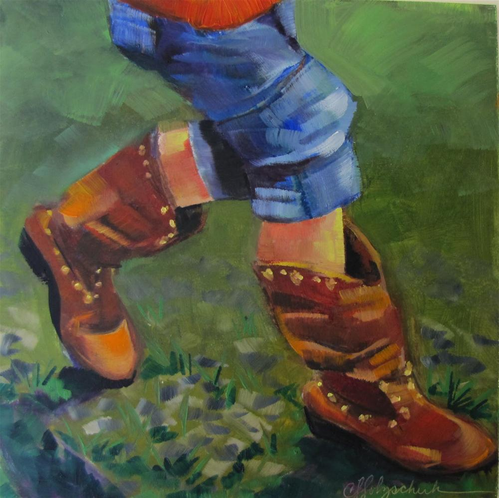 """Rodeo Feet  12x12 oil sold"" original fine art by Christine Holzschuh"