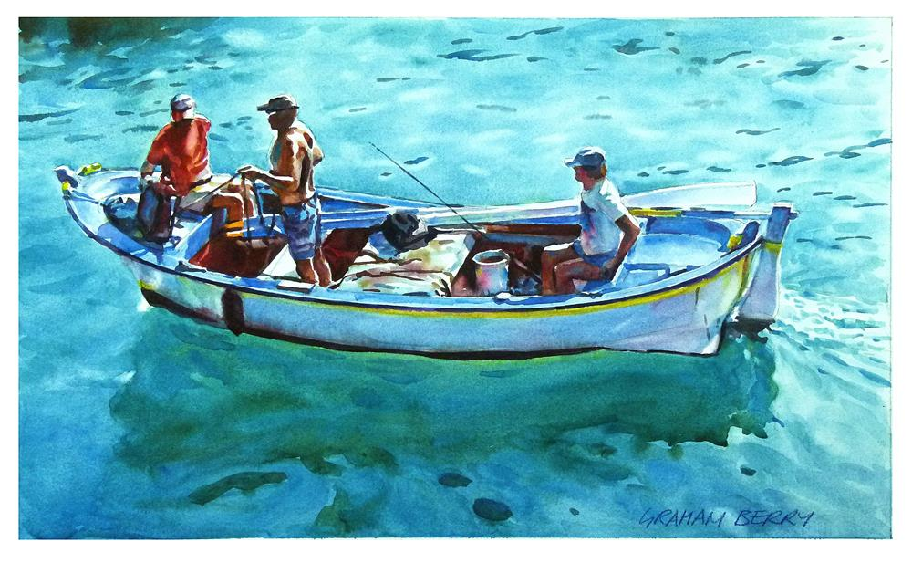 """Three men in a boat."" original fine art by Graham Berry"