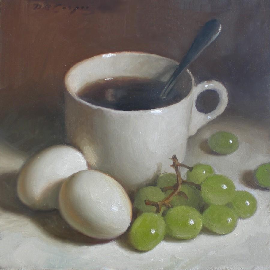 """Coffee, Eggs and Grapes"" original fine art by Debra Becks Cooper"