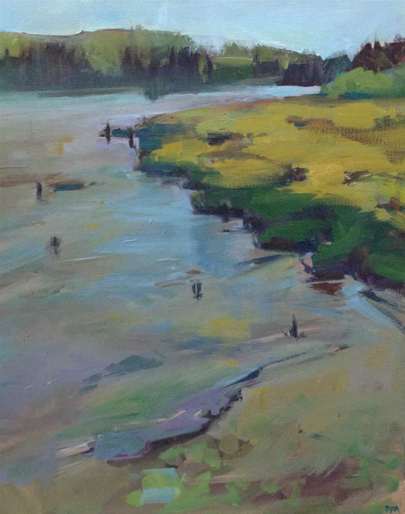 """A Bit of Water in The Yaquina Bay"" original fine art by Patti McNutt"
