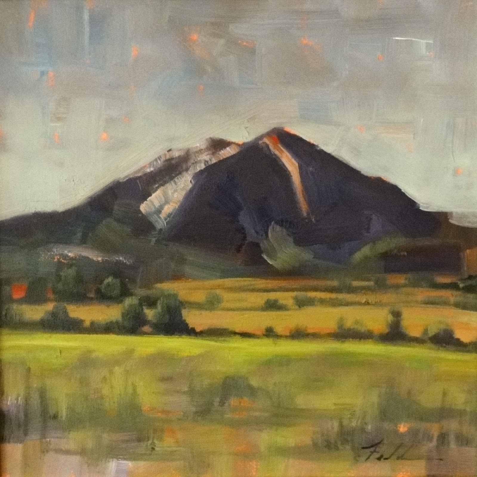 """Mt Sopris, Late Summer, 8x8"" original fine art by Ann Feldman"