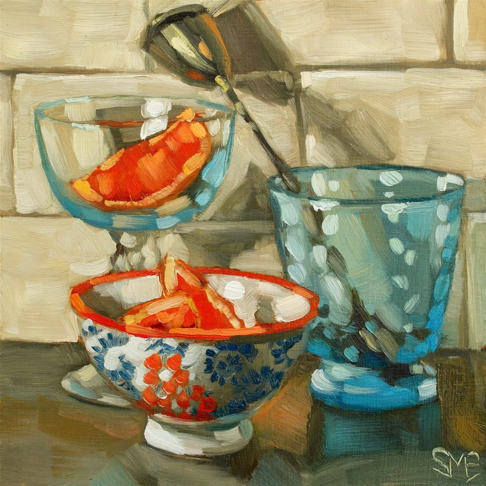 """Blue Glass, Oranges"" original fine art by Sheila Evans"