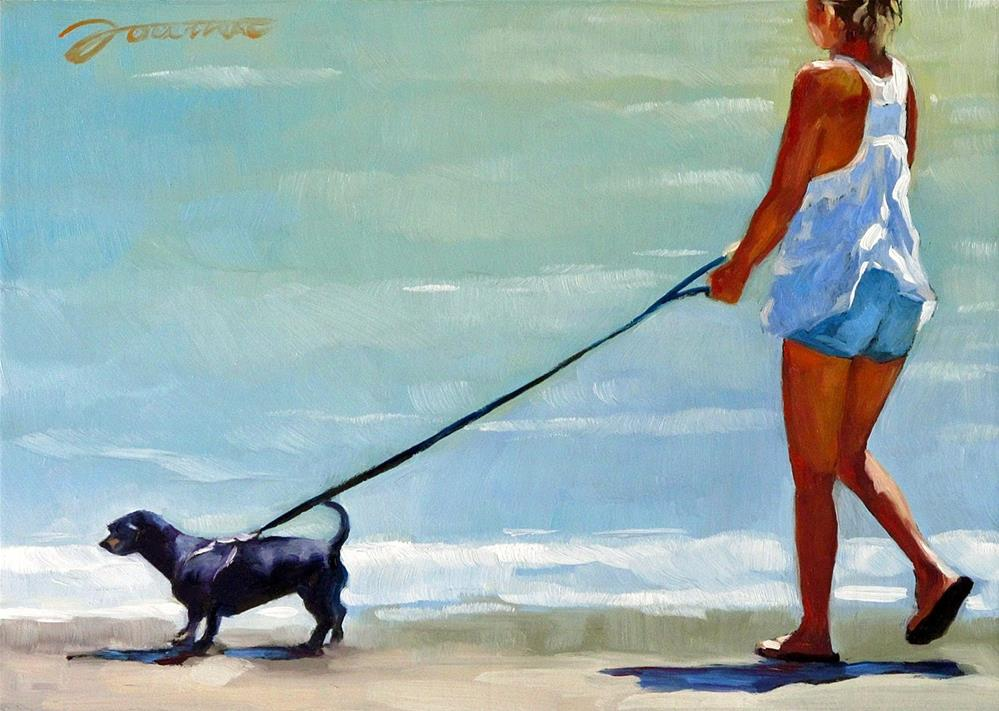"""Follow Me--Series Painting of Dog & Owner"" original fine art by Joanna Bingham"