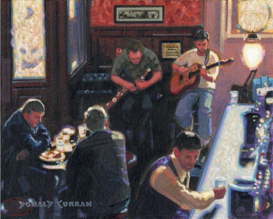 """Dublin Pub"" original fine art by Donald Curran"