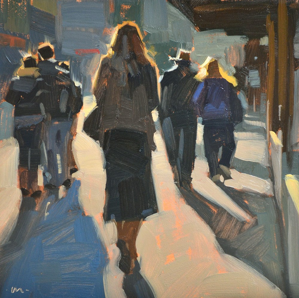 """City Stroll, Late Afternoon"" original fine art by Carol Marine"
