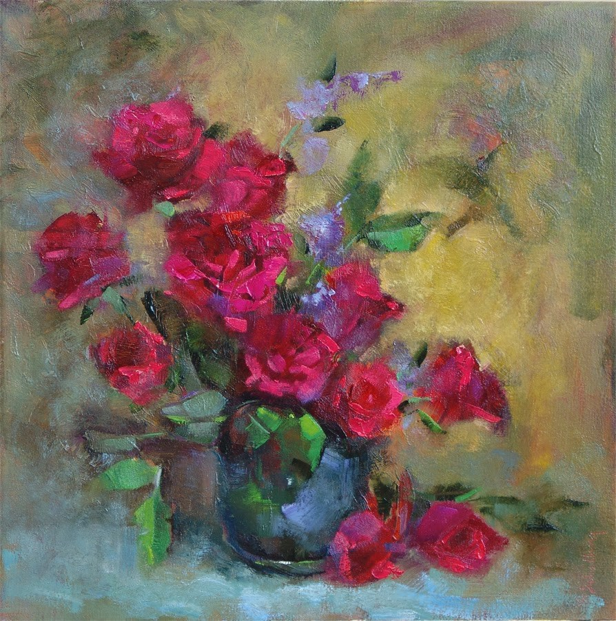 """Red Roses with Purple Statice"" original fine art by Barbara Schilling"